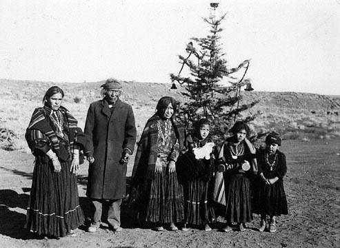 Peshlakai Etsetti Navajo Family with Christmas Tree