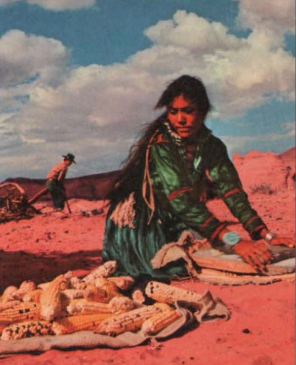 Grinding Corn at Kinaalda, Navajo Puberty Ceremony