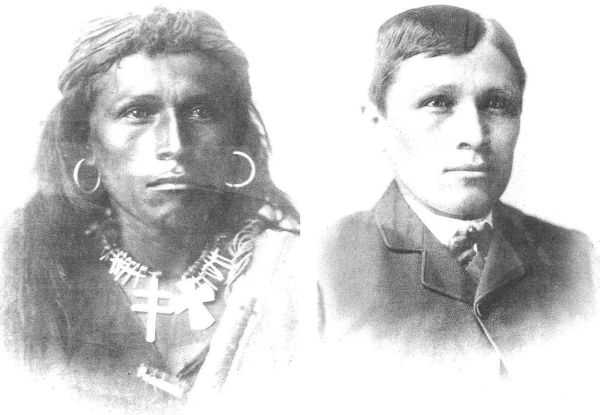 Tom Toslino - Navajo as he arrived at Carlisle and after 3 years after