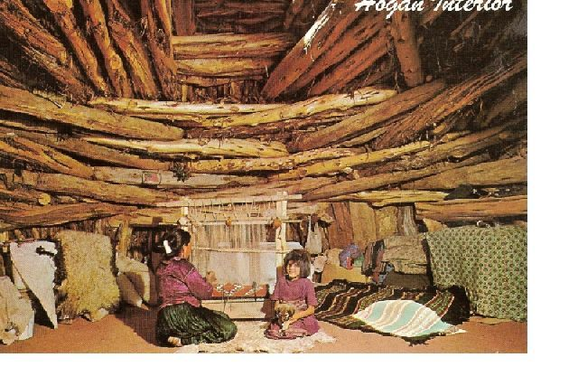 Navajo Home - Hogan inside with woman weaving child watching