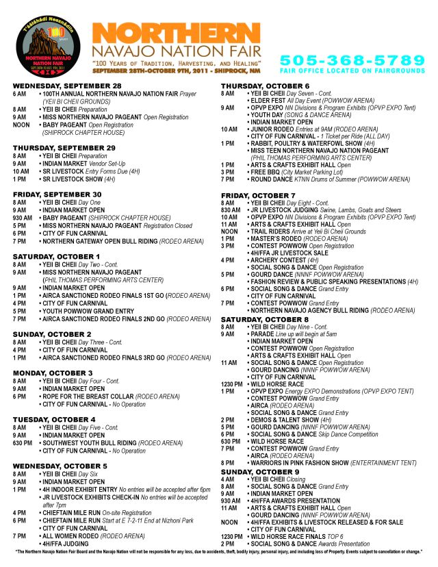 Northern Navajo Nation Fair Schedule of Events