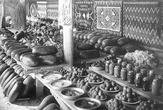 Shiprock Fair 1913, San Juan School display of produce and Navajo blankets