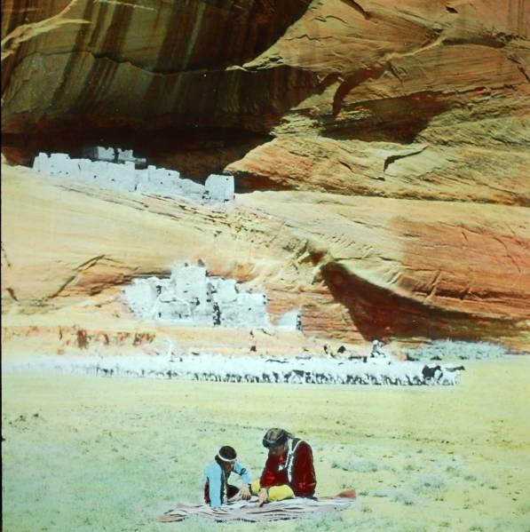Navajo Man and Child in Canyon de Chelly, AZ