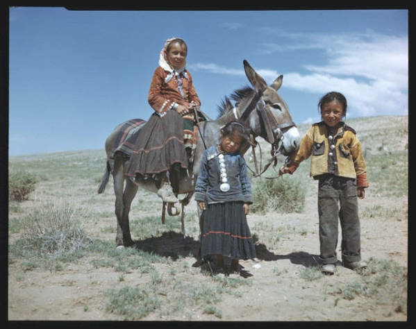 Navajo Childern On the Reservation with Girl Riding Donkey