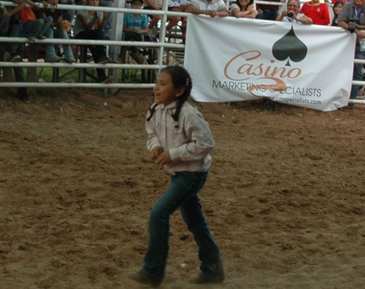 Navajo-Wooly-Riding Jareth Hale, 7, of Beshbitoh, Ariz