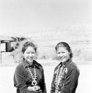 2 Navajo girls - Mabell and Nora at Marble Canyon, holding hands