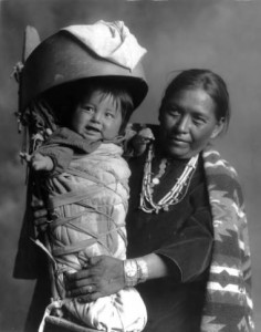 Navajo Mother with Baby is in a Cradleboard