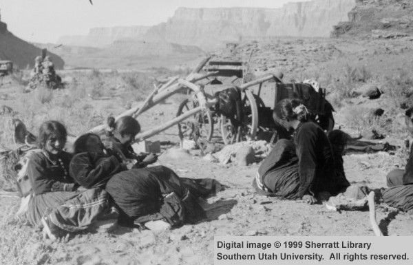 Navajo Group with Wagon; Lees Ferry, Arizona