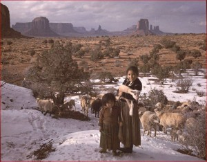 Navajo Shepherdess Girls in Winter