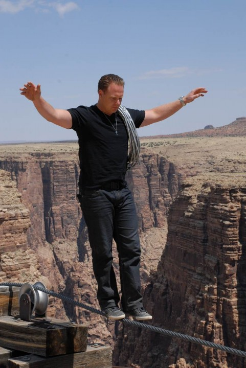 Nik Wallenda practicing his balance at Little Colorado River Navajo Tribal Park