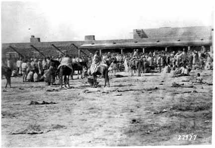 Indian captives at Issue House, Bosque Redondo Era, Fort Sumner, New Mexico-001