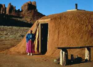 Navajo Weaver - Her Hogan - in Monument Valley