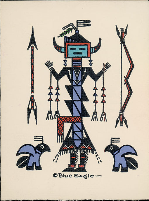 Navajo Yei Drawing Painting Silkscreen By Blue Eagle Acee