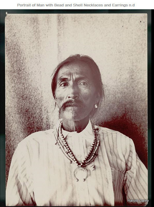 portrait of man with bead and shell necklaces and earrings n d
