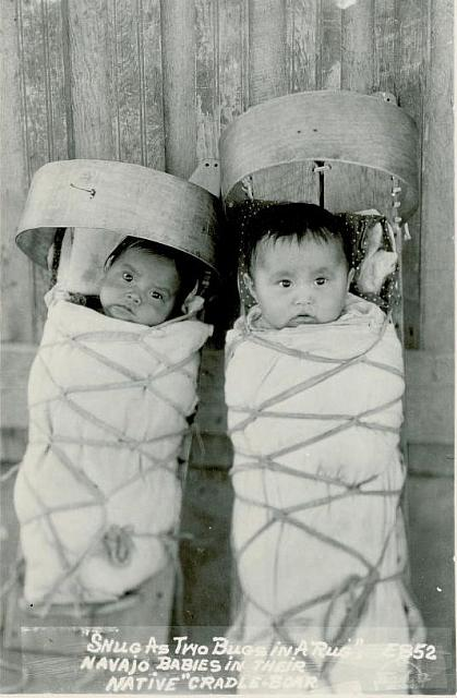 Two Navajo Babies In Their Cradleboards
