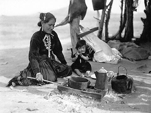Florence. (Navajo Woman) cooking at Indians Wells 1932