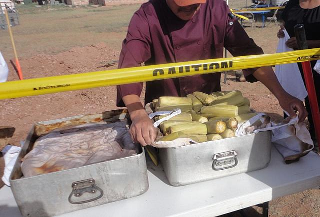 Mutton and Corn Cooked in Pit the Navajo Way
