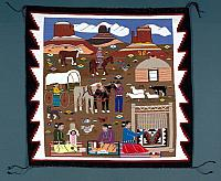 Reservation-Scene-Navajo-Rug-woven-by-Louise-Nez-1992-720x590