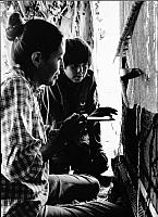 Navajo Woman & Son, Dinnehotso, Arizona, Weaving Rug