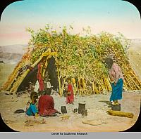 Navajo family wood hogon