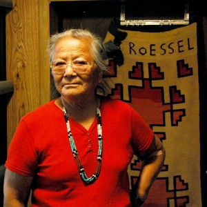 Ruth Roessel with Navajo Rug