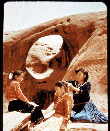 Three Navajo Girls  Fixing Hair
