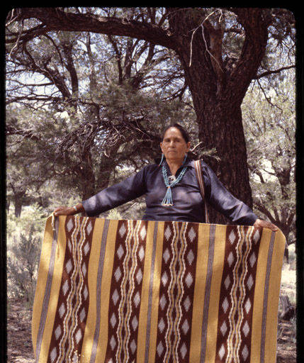 Mary Louise Chee and her Navajo Rug - 1950s