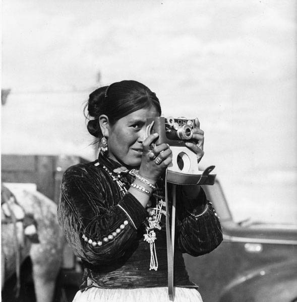 Navajo Woman Taking Photograph New Mexico 1945